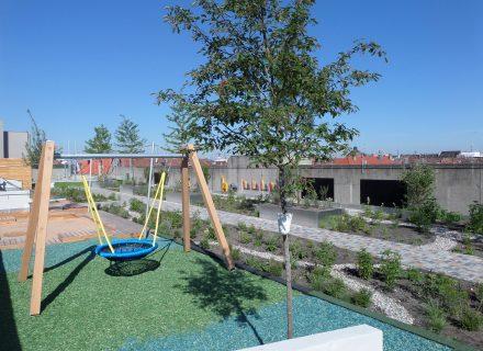 Sanierungspreis 15 in der Kategorie Flachdach, Sanierung des Obergeschosses eines Parkhauses mit Aufstockung einer Kindertagesstätte, nach der Sanierung